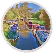 Canal Barges Round Beach Towel