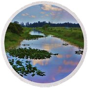 Canal In The Glades Round Beach Towel