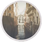 Canal In Venice Italy Applying Retro Instagram Style Filter Round Beach Towel