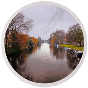 Canal Of Amsterdam Round Beach Towel