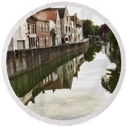 Canal Reflection  Round Beach Towel