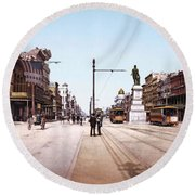 Canal Street New Orleans 1900 Round Beach Towel