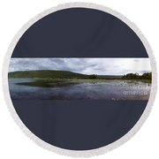 Canandaigua Lake Panorama Round Beach Towel