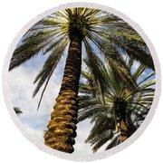 Canary Island Date Palms Round Beach Towel