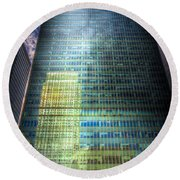 Canary Wharf Reflections Round Beach Towel