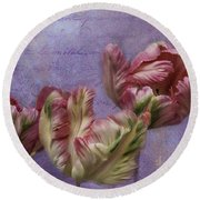 Cancan Parrot Tulips Round Beach Towel