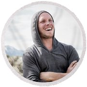 Candid Portrait Of Laughing Young Round Beach Towel