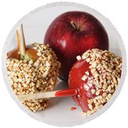 Candied Caramel And Regular Red Apple Round Beach Towel