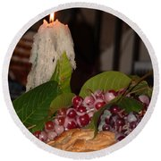 Candle And Grapes Round Beach Towel by Marcia Socolik