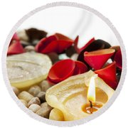 Candle And Petals Round Beach Towel