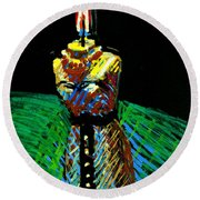 Candle Bust Round Beach Towel