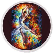 Candle Fire - Palette Knife Oil Painting On Canvas By Leonid Afremov Round Beach Towel