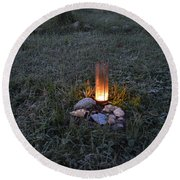 Candle Glow Round Beach Towel