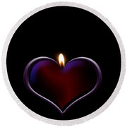 Candle Heart Round Beach Towel