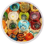 Candle Holders Round Beach Towel