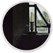 Candle In The Window Round Beach Towel