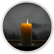 Candle On A Rainy Day Round Beach Towel