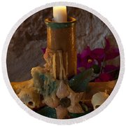 Candle On Day Of Dead Altar Round Beach Towel