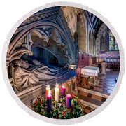 Candles At Christmas Round Beach Towel by Adrian Evans