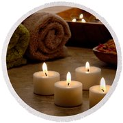 Candles In A Spa Round Beach Towel