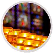 Candles In Notre Dame Round Beach Towel