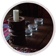 Candles In The Morning Round Beach Towel