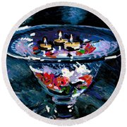Candles In Water Round Beach Towel