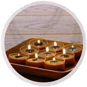 Candles In Wood Tray Round Beach Towel