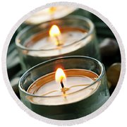 Candles On Green Round Beach Towel