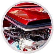 Candy Apple Red Horsepower - Ford Racing Engine Round Beach Towel