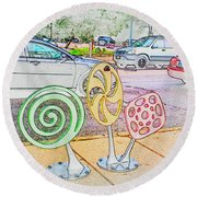 Candy Bike Rack In Colored Pencil Round Beach Towel