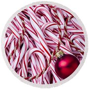Candy Cane And Red Ornament Round Beach Towel