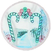 Candy Cane Christmas 2 Round Beach Towel