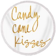 Candy Cane Kisses Round Beach Towel