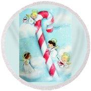 Candy Cane Round Beach Towel