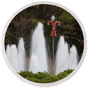 Candy Cane Water Fountain Round Beach Towel