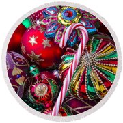 Candy Canes And Colorful Ornaments Round Beach Towel