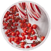 Candy Canes And Red Berries Round Beach Towel