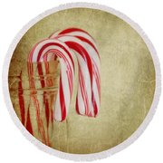 Candy Canes Round Beach Towel