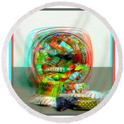 Candy Jar - Use Red-cyan Filtered 3d Glasses Round Beach Towel