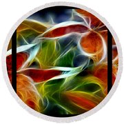 Candy Lily Fractal Triptych Round Beach Towel