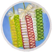 Candy Ribbon  Round Beach Towel