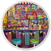 Candy Shop Round Beach Towel