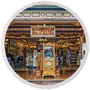 Candy Shop Main Street Disneyland 01 Round Beach Towel