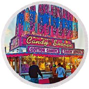 Candy Shoppe Line Art Round Beach Towel