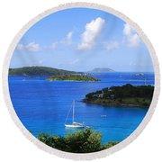 Caneel Bay In St. John In The U. S. Virgin Islands Round Beach Towel