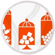 Canisters In Orange Round Beach Towel