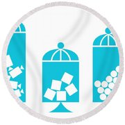 Canisters In Turquoise Round Beach Towel