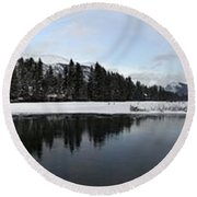Winter Mountain Calm - Canmore, Alberta Round Beach Towel