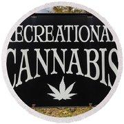 Cannabis Marijuana Store In Ridgway Round Beach Towel